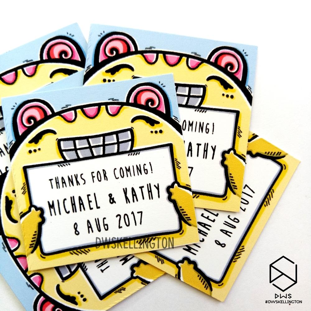 Jual Custom Sticker Doodle Kartu Ucapan Terima Kasih Souvenir Kupon Pernikahan 28 Art Dwskellington Tokopedia