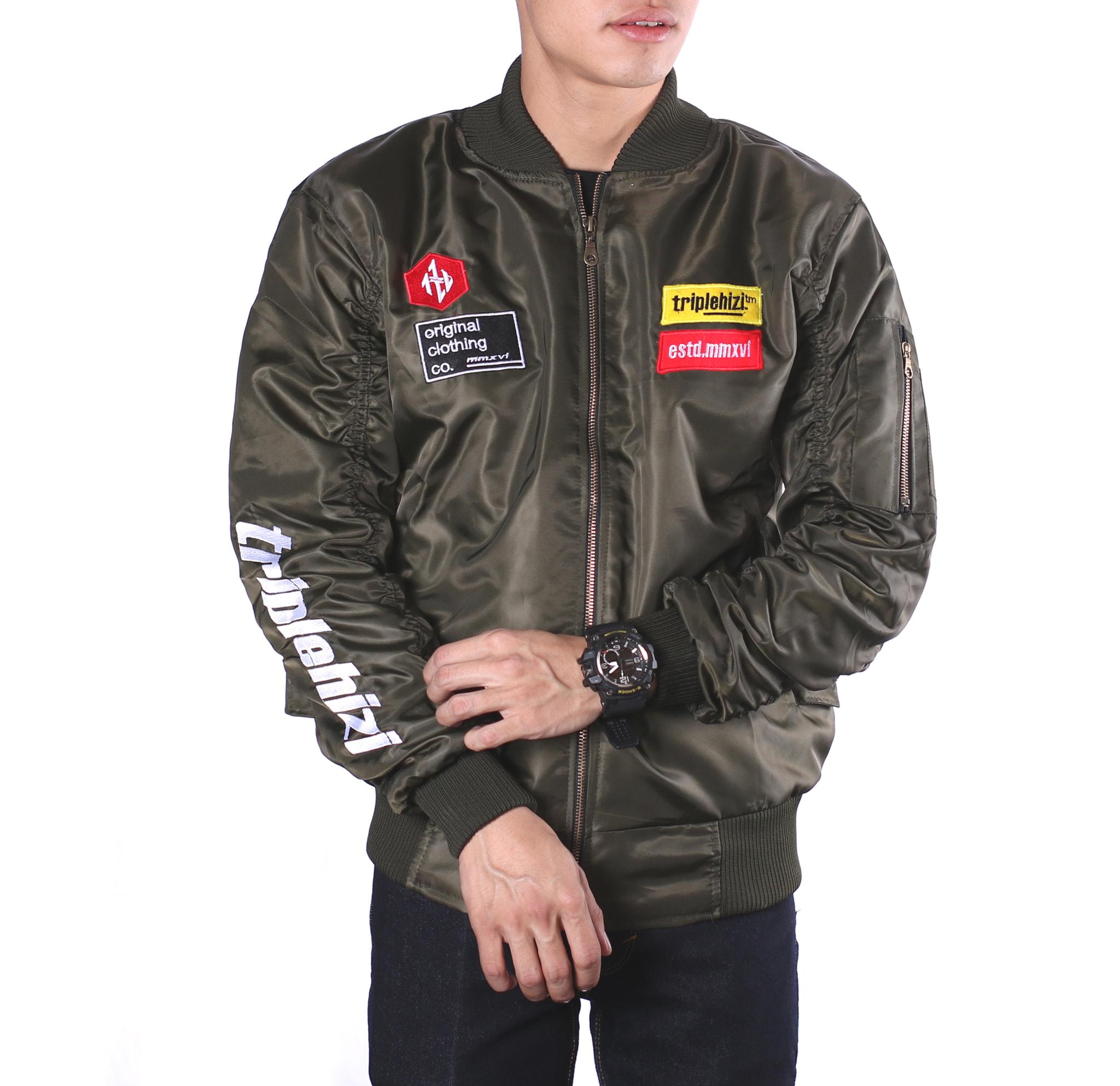 Jual Jaket Bomber Pilot Patch Hand Estd Green Original Unisex Nevy