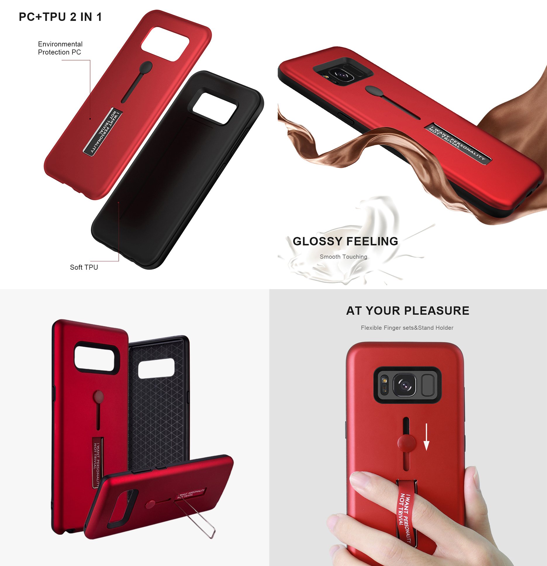 Samsung Note 8 Silicone Ring Stand Luxury Soft Gel Capa Armor Case