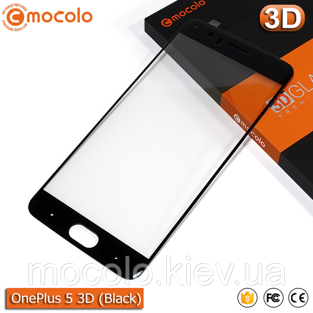 Mocolo Oneplus 5 Tempered Glass Screen Protector 3D - Black ORIGINAL