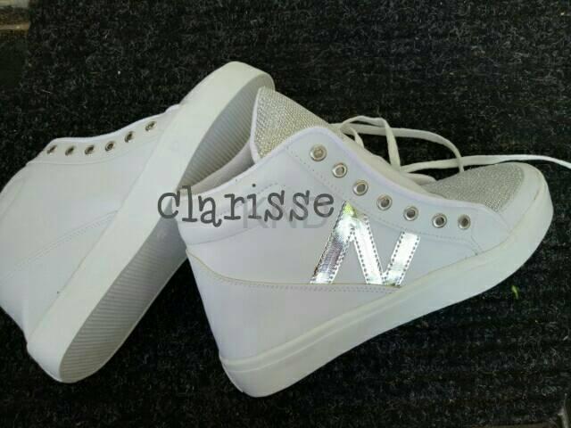 Sepatu Wanita Cewek Sepatu Kets Boots N Putih Silver Terlaris