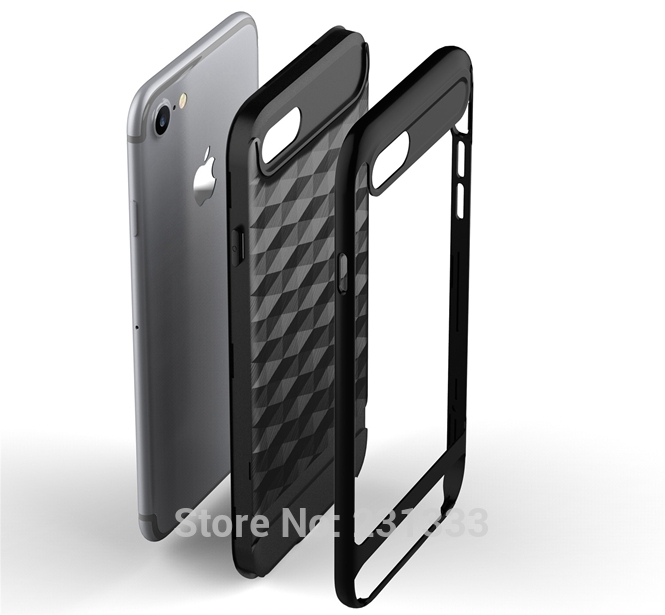 iPhone 6 6s Plus 5.5 Luxury 3D Cube Brush Armor Soft Case Shockproof