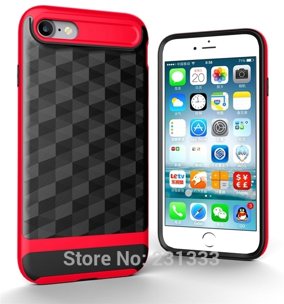 iPhone 8 8S Plus 5.5 Luxury 3D Cube Brush Armor Soft Case Shockproof