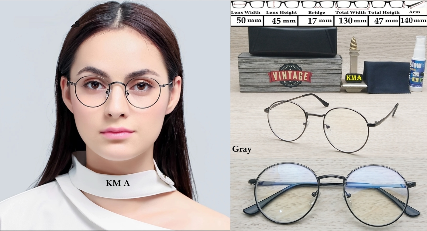 Jual Kacamata Minus Frame Korea Bulat Metal Transparant Baru