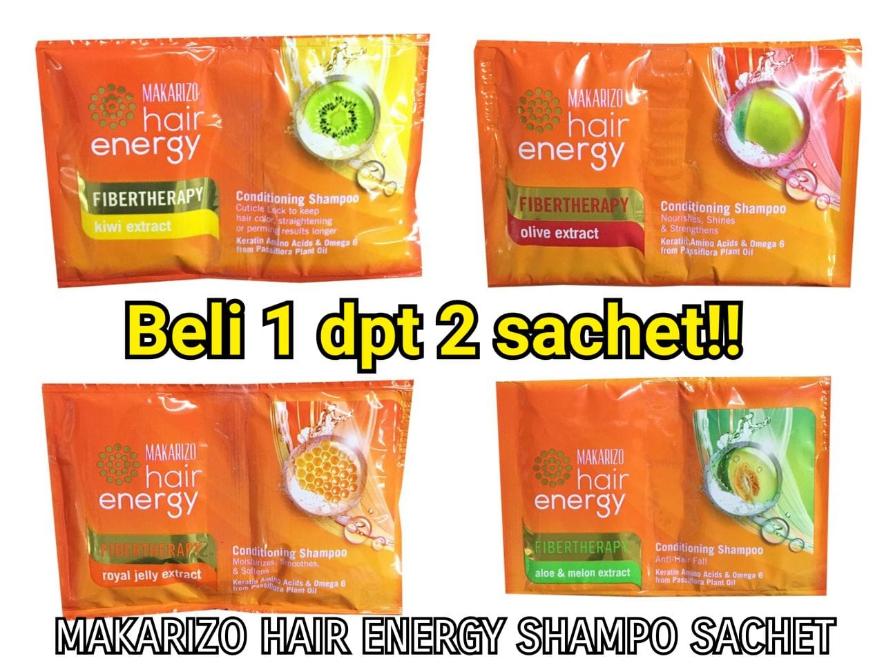 Makarizo Hair Energy Shampoo Sachet Aloe And Melon Extract 6 Sachets 60g X 4 Fibertherapy 30 Gr Pcs Review Daftar Harga Source Jual