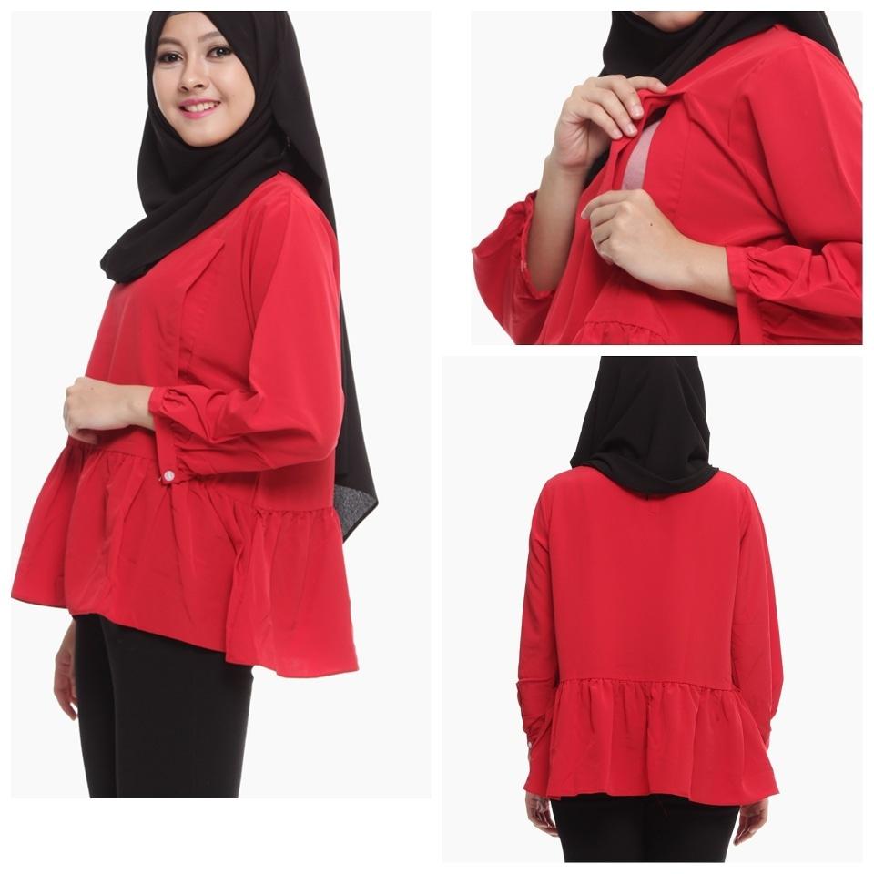 Baju Menyusui Daftar Harga Terbaru Terlengkap Indonesia Justmom Jolly Cotton Slub Biru Muda Hamil Daisy Merah