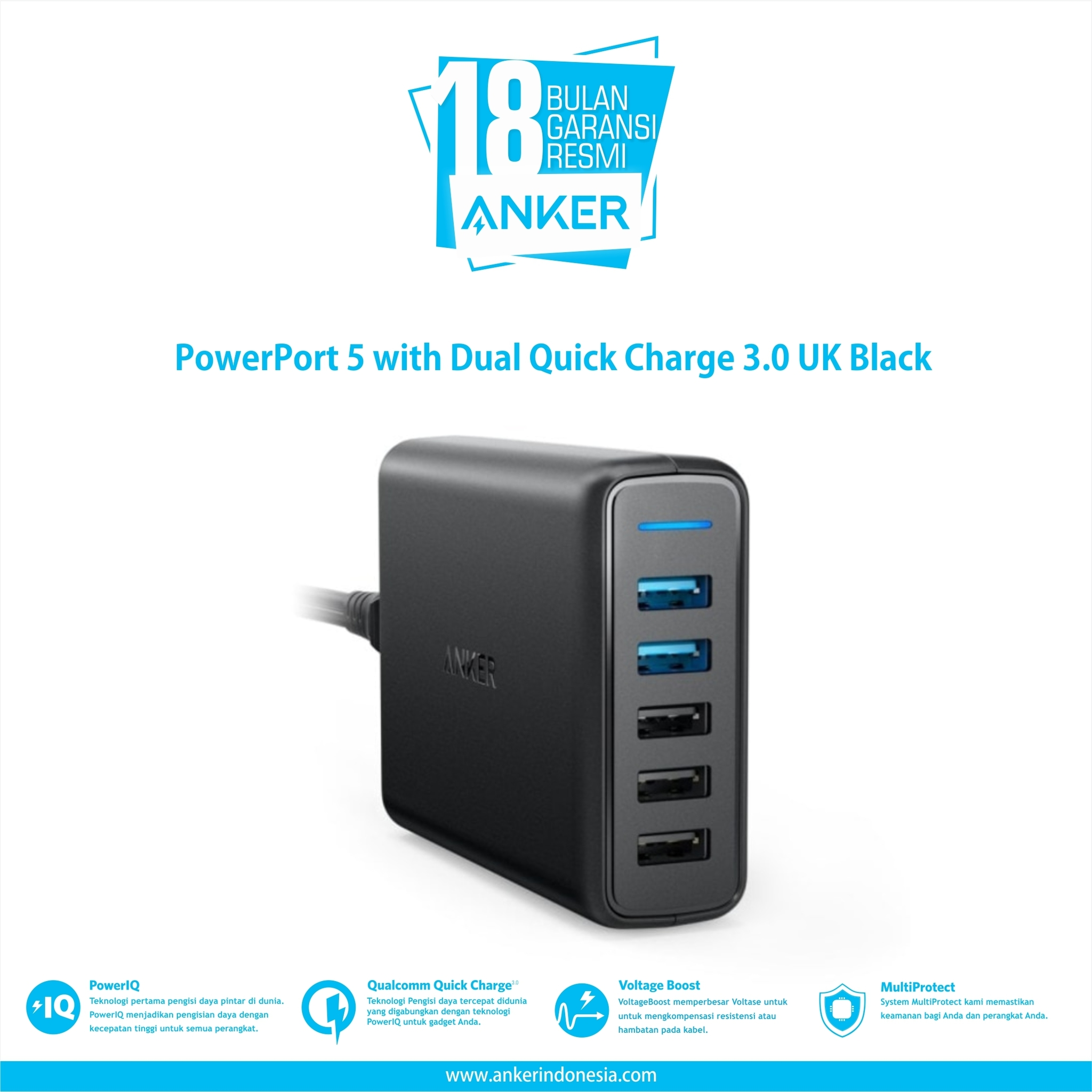 Powerport 5 With Dual Quick Charge 3.0 Uk Black A2054k11 - Blanja.com