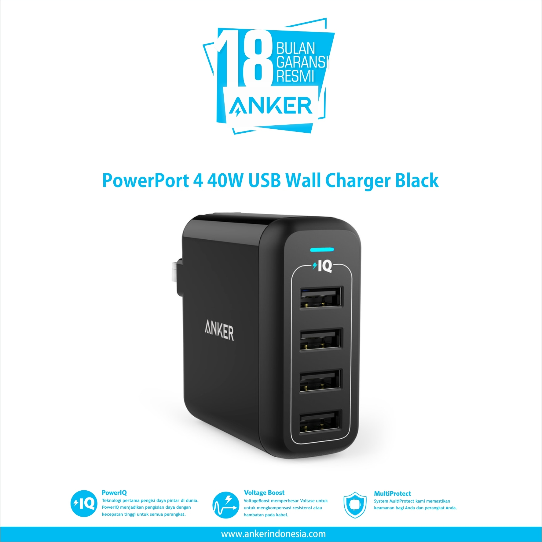 PowerPort 4 40W USB Wall Charger Black A2142J12