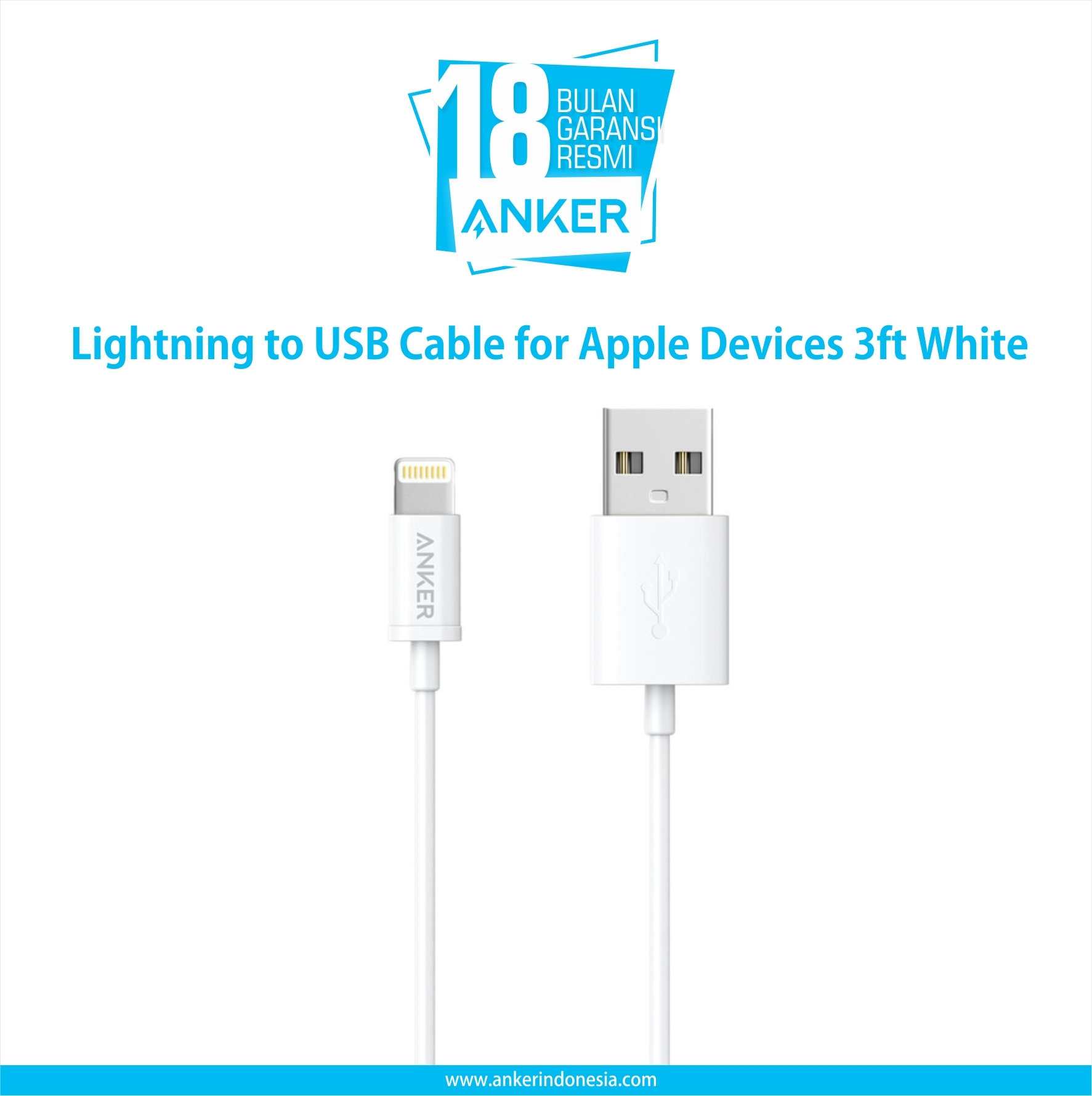 Anker Lightning To Usb Cable For Apple Devices 3ft White A7101h22 - Blanja.com