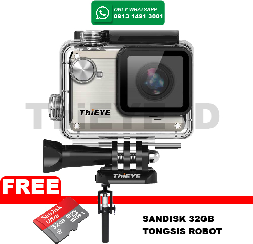 ActionCam ThiEye i30 12MP/Wifi FREE Sandisk 32GB+Tongsis Robot - Silver