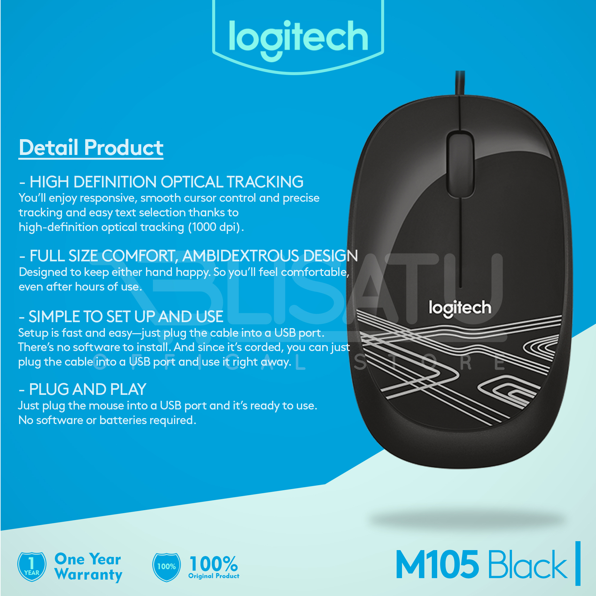 Jual Logitech Wired Optical Mouse Usb M105 Hitam Original Garansi Resmi