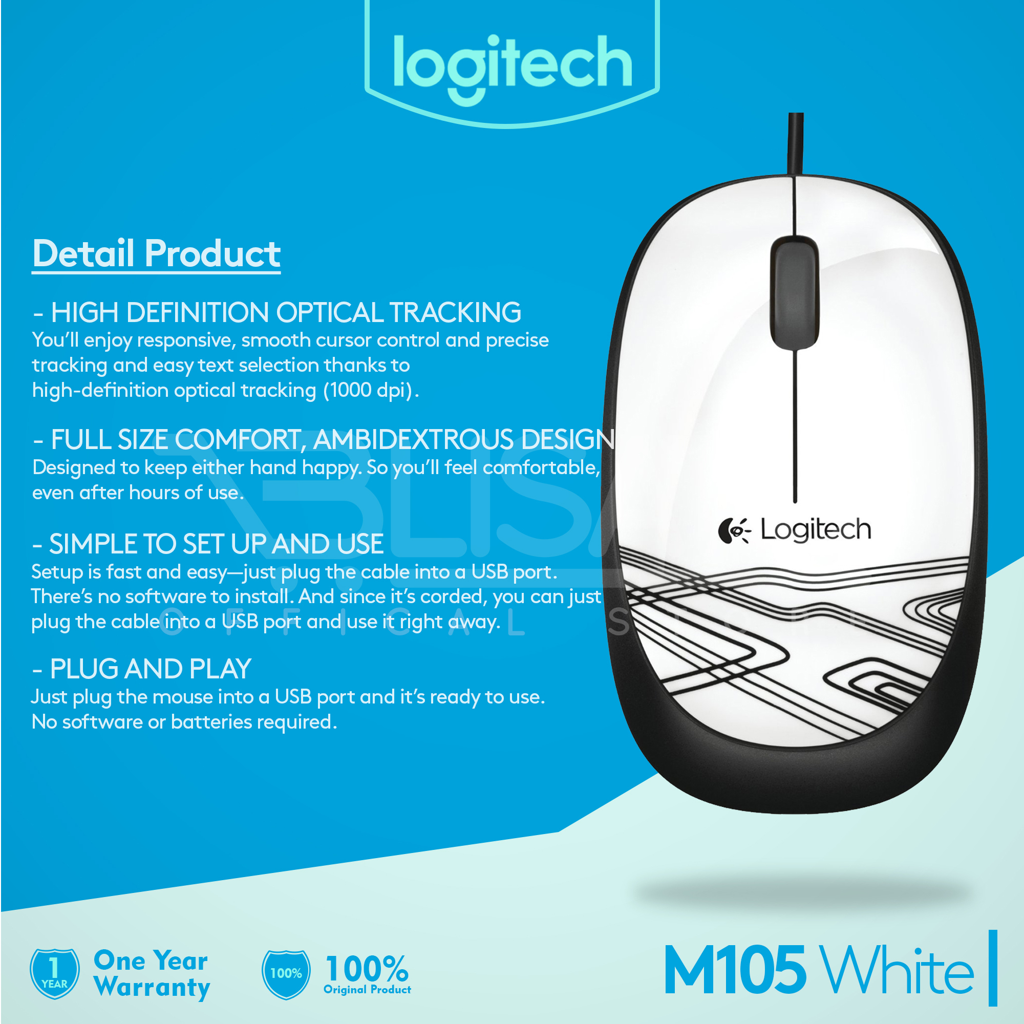 Jual Logitech Wired Optical Mouse Usb M105 Putih Wiring Diagram