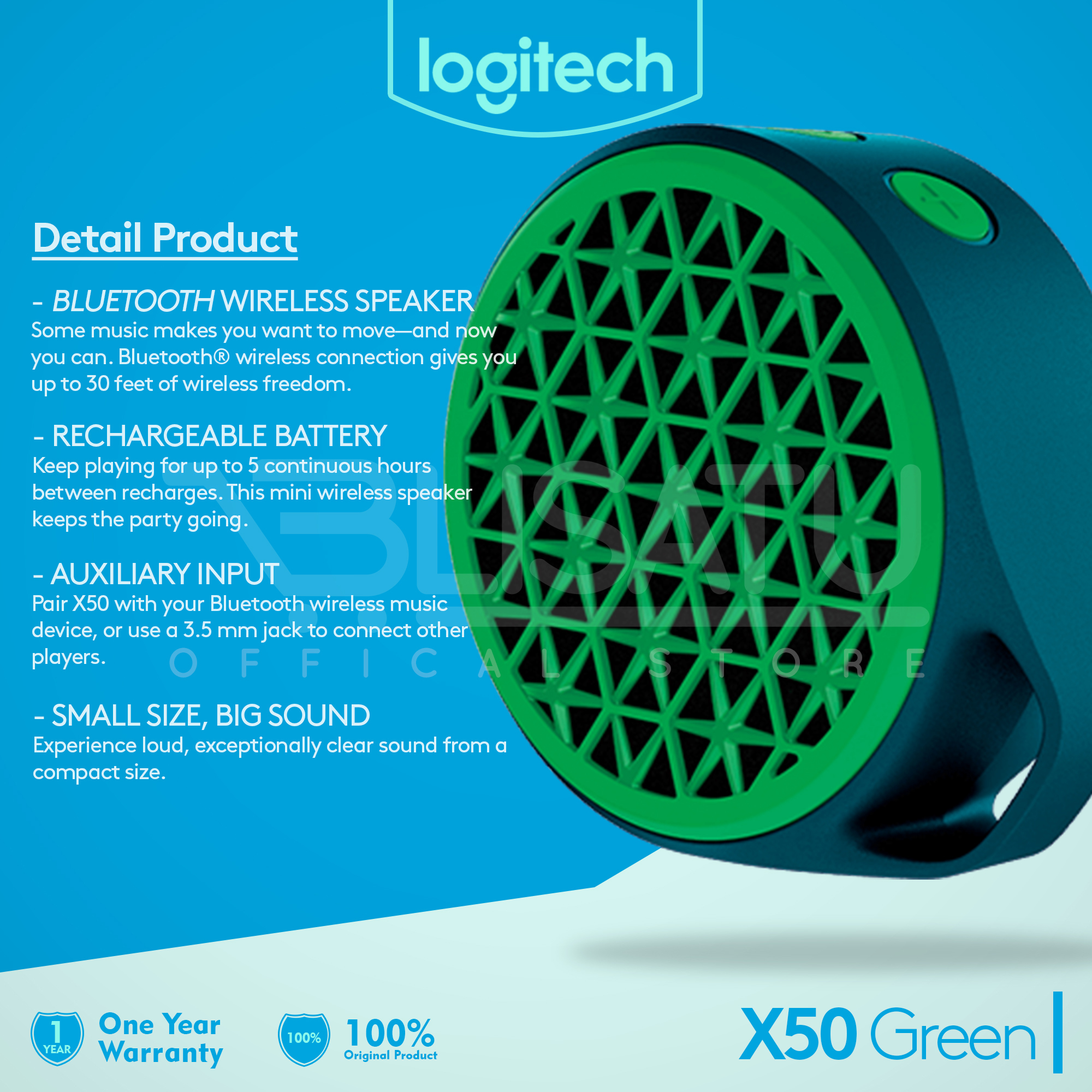 Jual Logitech X50 Mobile Wireless Speaker Bluetooth