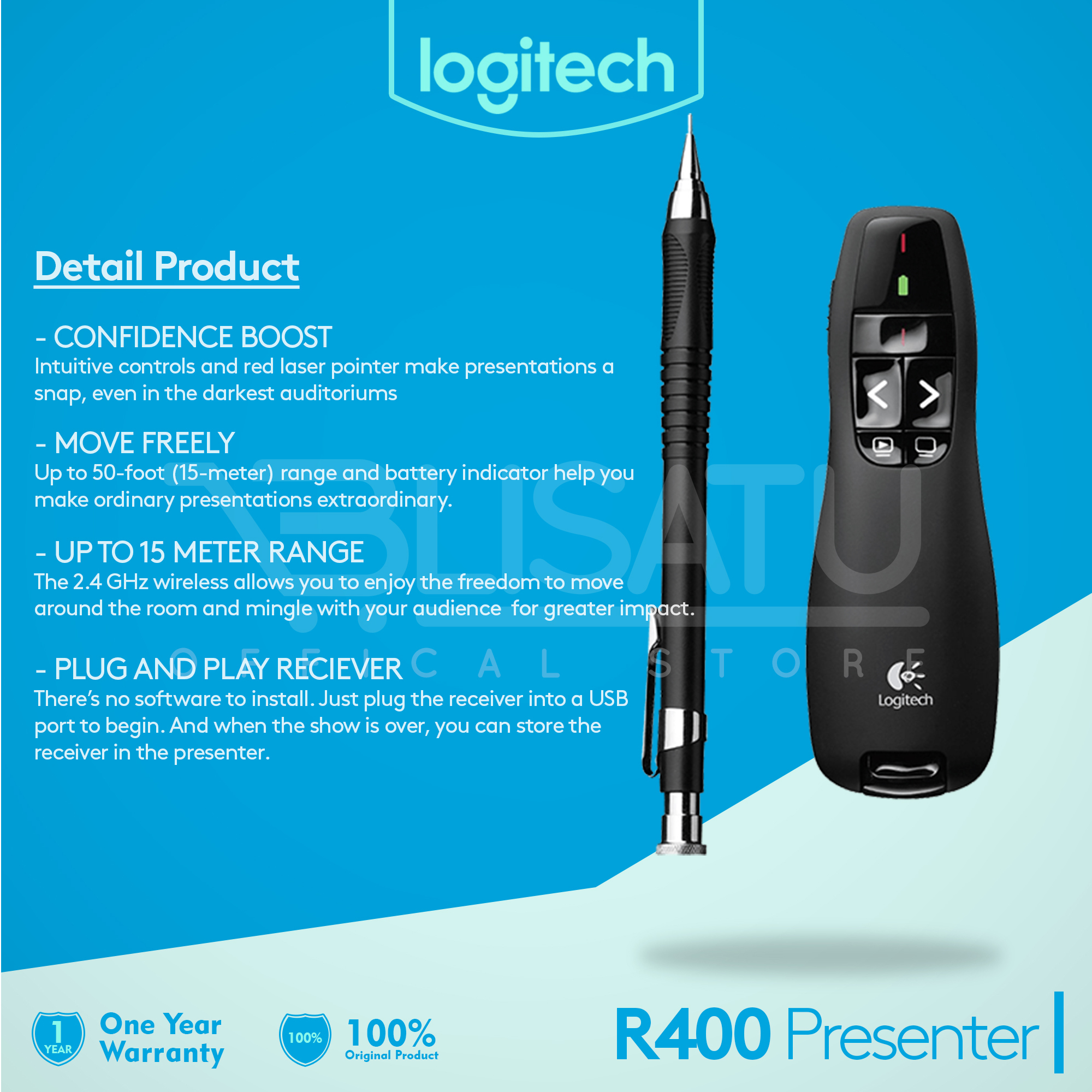 Jual Logitech R400 Wireless Presenter Garansi 1 Tahun Pointer