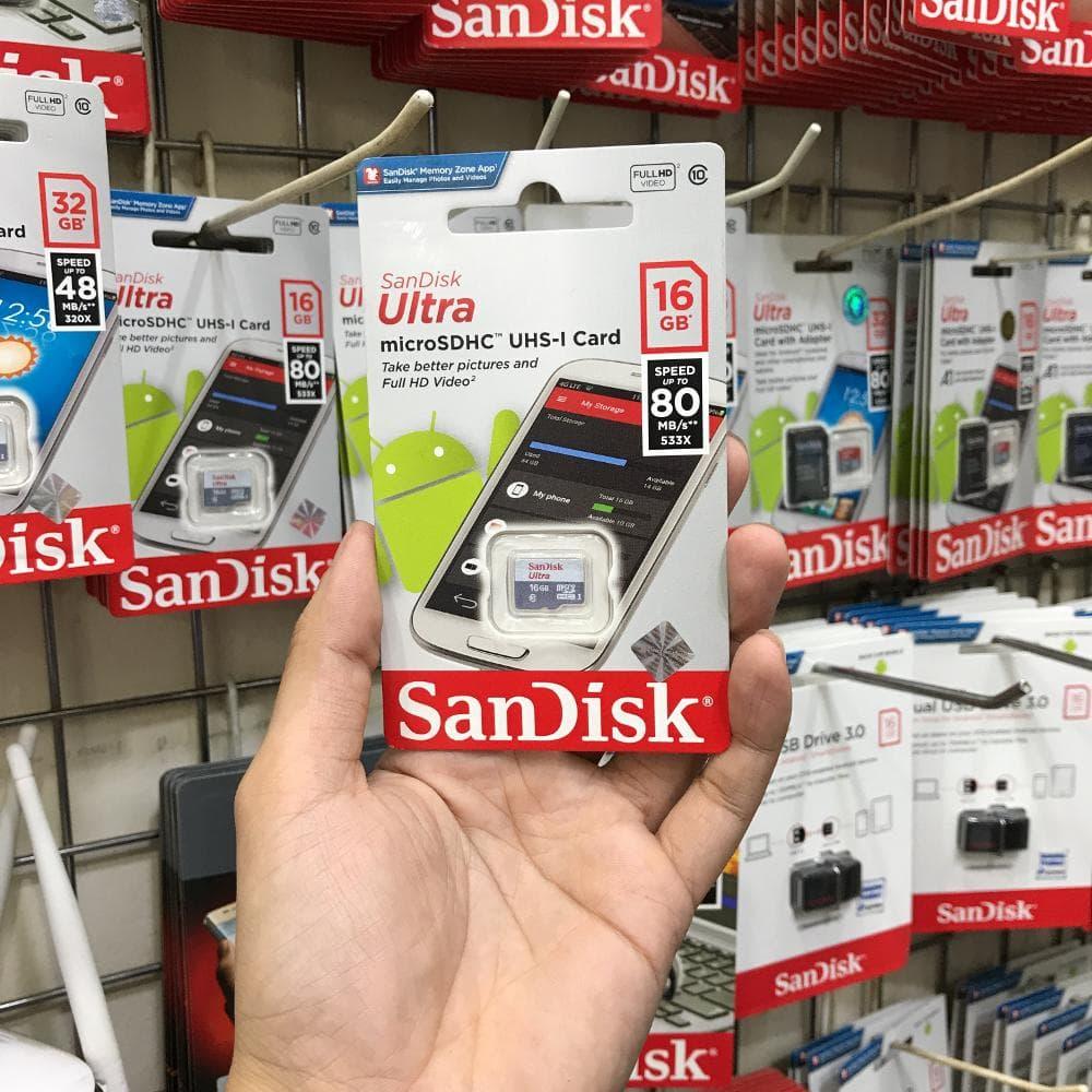 Jual Sandisk Ultra Micro Sdhc Card Uhs I Class 10 80mb S 16gb No Sd 32gb Adapter Garansi Resmi