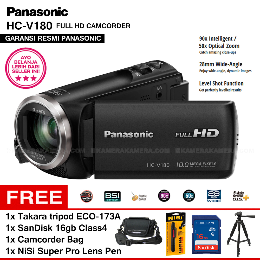 Jual Panasonic Hc V180 Handycam Camcorder Resmi Sdhc Tas Nisi Tripod Takara Eco 173a Kamerakamera Tokopedia