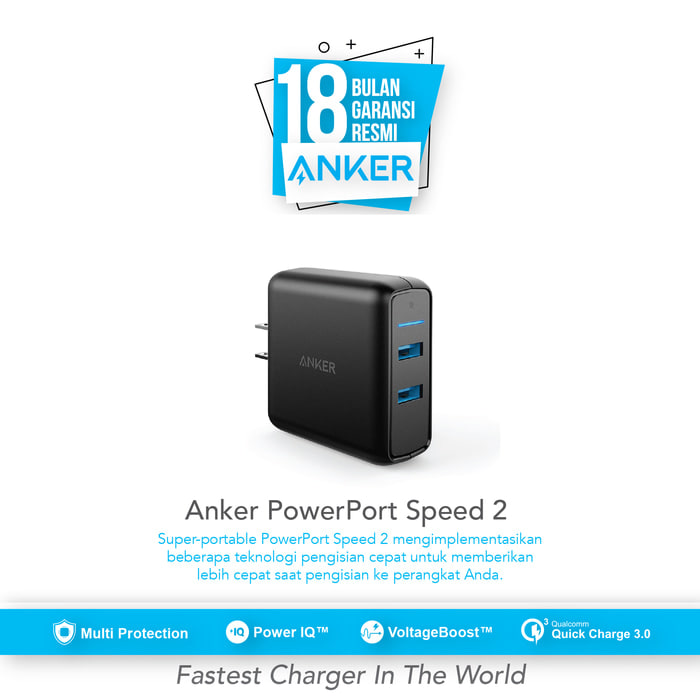 Anker Wall Charger Powerport Speed 2 Quick Charge 3.0 Hitam - A2025j11 - Blanja.com