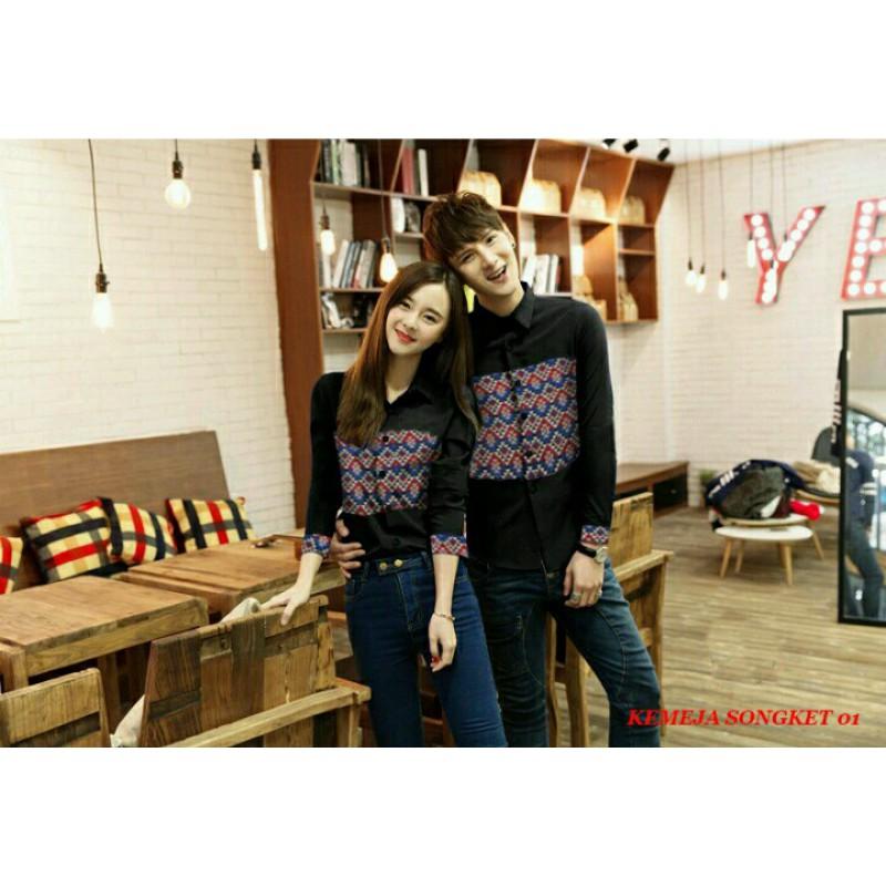 Jual Kemeja Songket 01 Hitam / baju kemeja couple / batik couple / baju - toko yodhi fashion | Tokopedia
