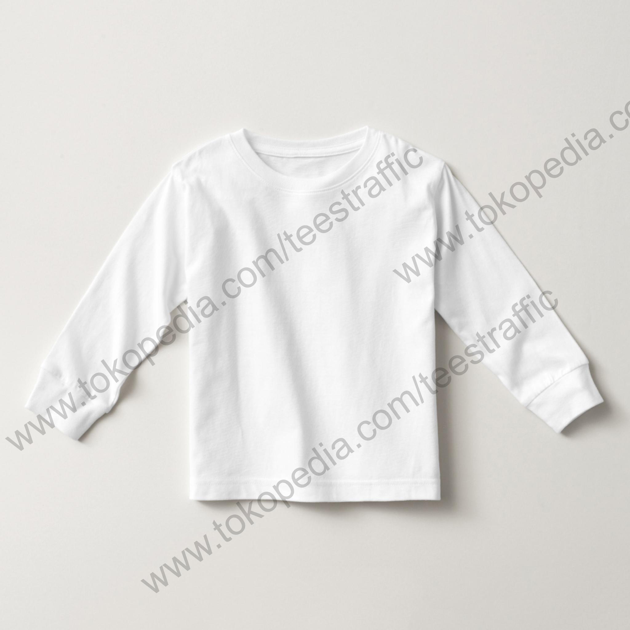 Jual Kaos Polos Anak Lengan Panjang Putih Cotton Combed 30s