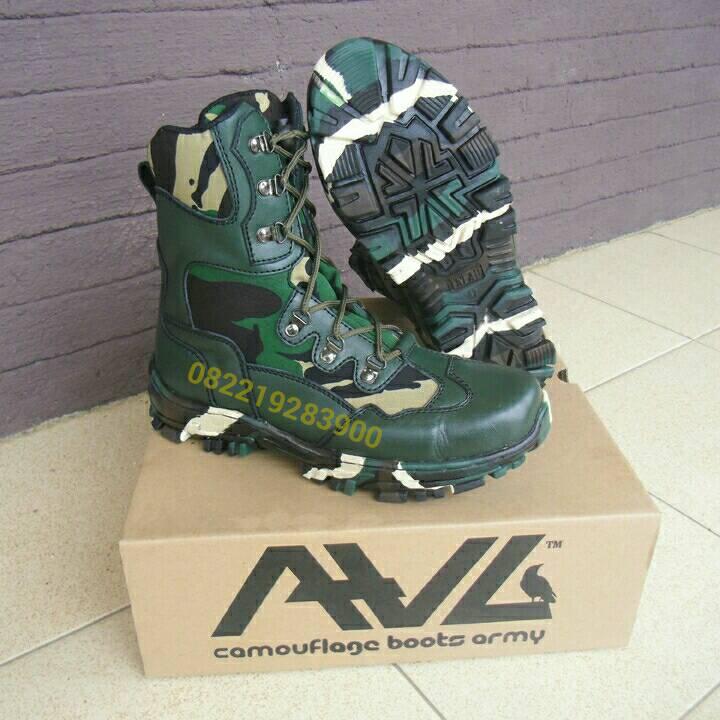 Sepatu PDL TNI AD Loreng Malvinas Kulit Hijau merk AWL tipe LBA-01