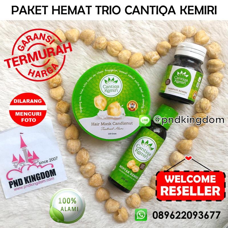 Paket Hemat Trio Cantiqa Kemiri (Minyak + Saripati + Masker Rambut) - Blanja.com