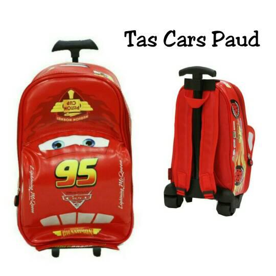 Tas Sekolah Trolley Anak Paud Model Mobil Cars Merah Best Seller - Blanja.com