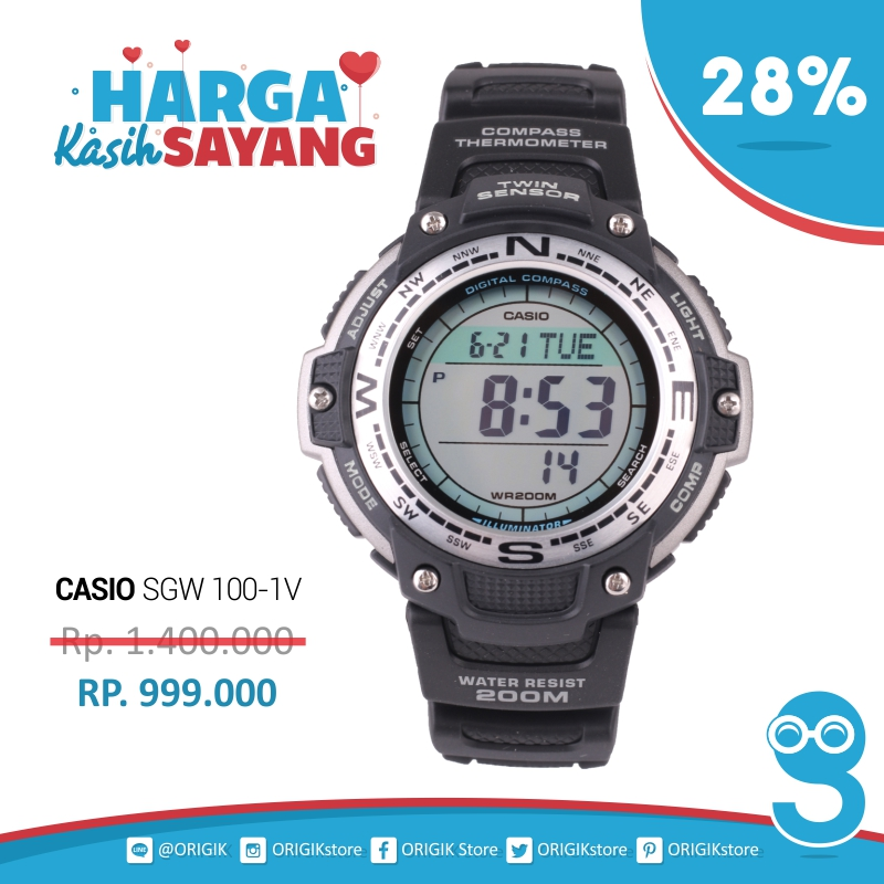 Jual Jam Tangan Casio Mens SGW 100 1V Digital Compass