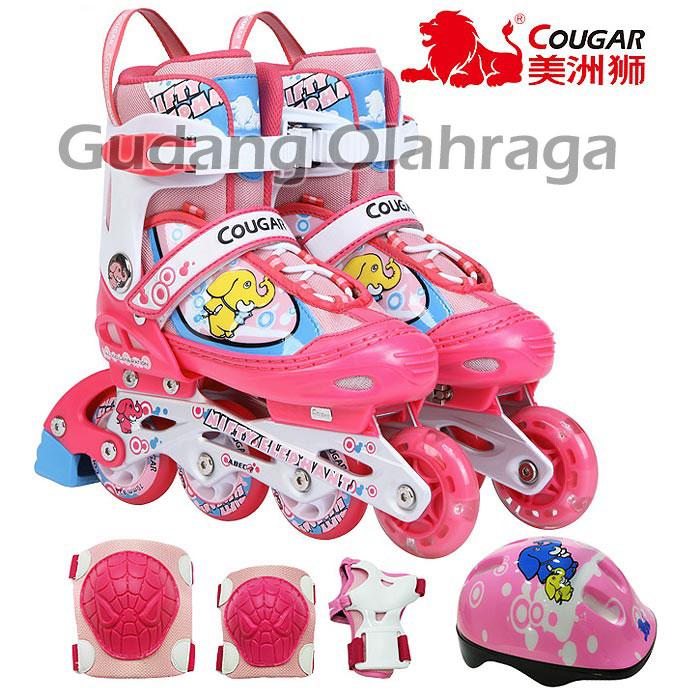 Sepatu Roda COUGAR COMBO SET Inline Skate PINK Karakter