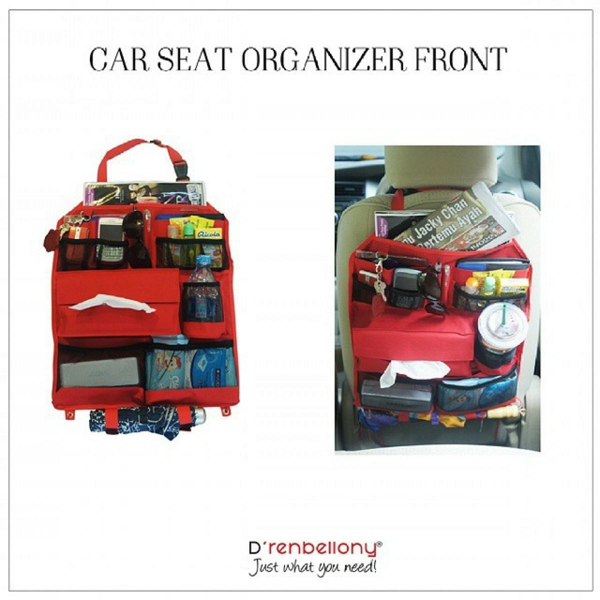 Car Seat Organizer Front D'renbellony (Tempat Penyimpanan Organiser Aksesoris Interior Jok Depan Mobil) Red