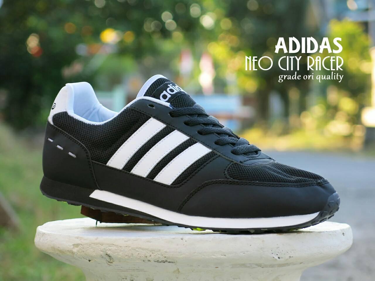 Jual Sepatu Adidas Neo City Racer Premium Black White Kets Casual ... 6c96c39480