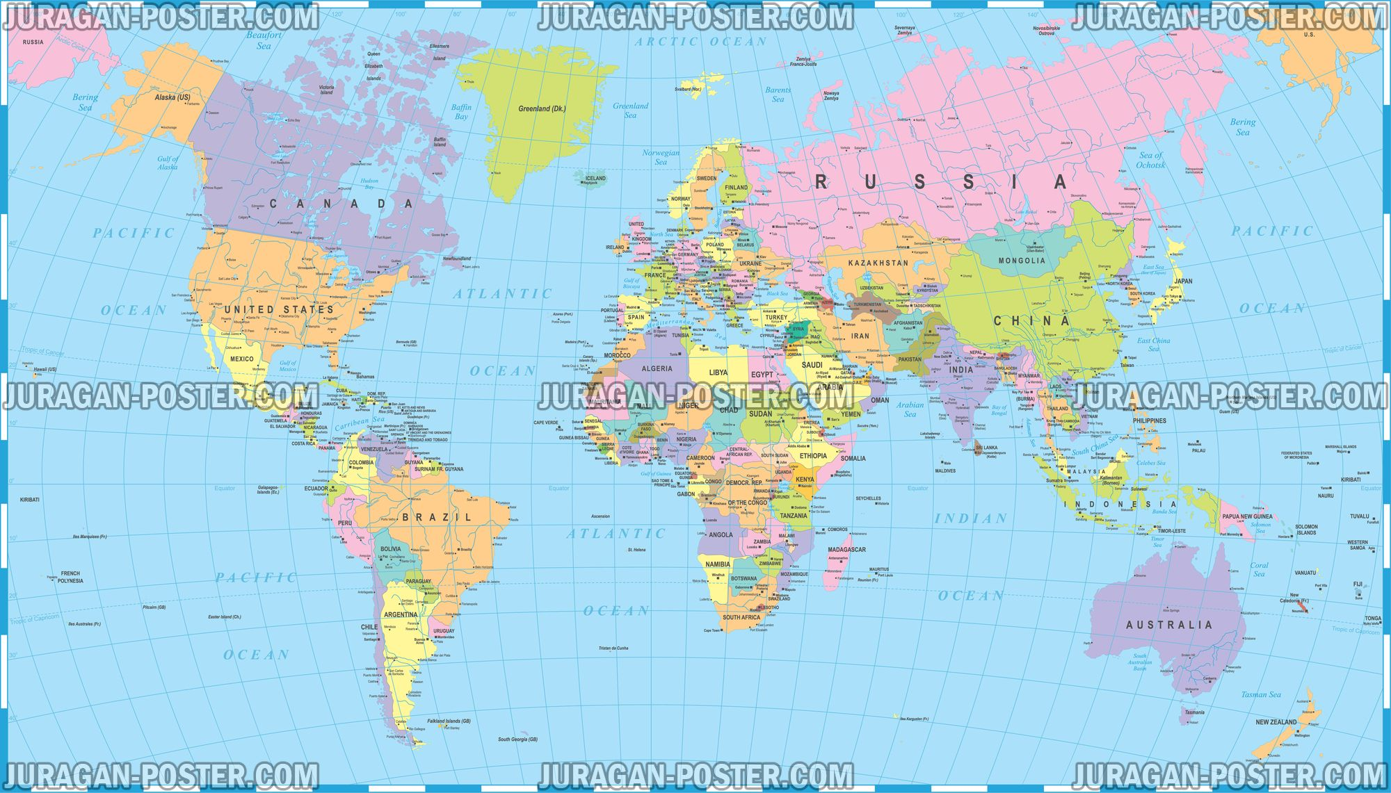 Jual Poster Gambar Peta Dunia 009 150x265cm Bingkai Juragan Murah