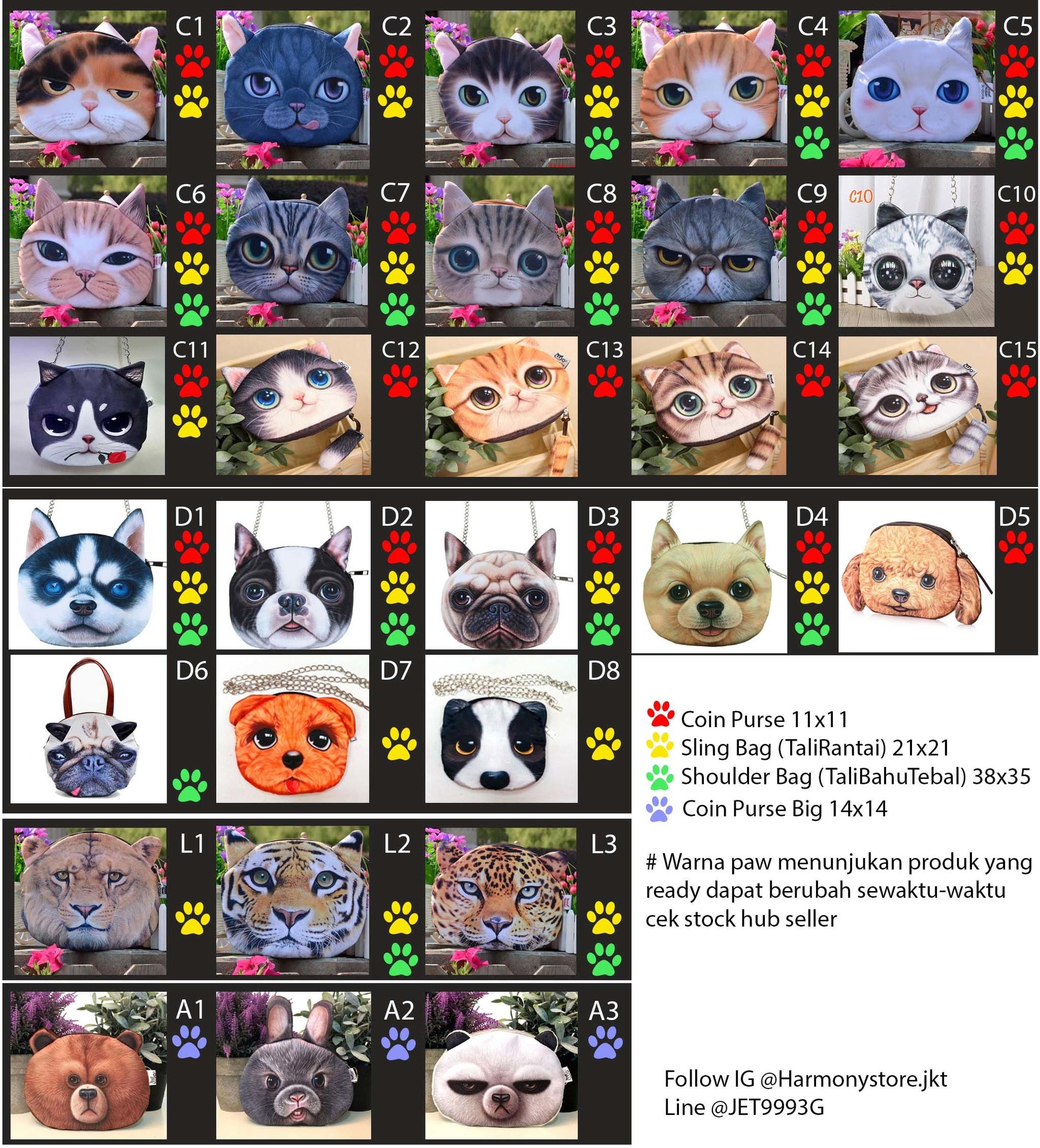 ... Tas Kepala Kucing   Muka Kucing   Motif Kucing Sling Bag C6 - C9 -  Blanja 38da8c5742