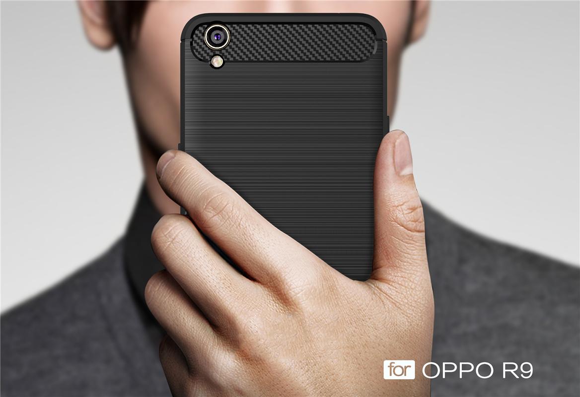 OPPO F1 Plus R9 TPU Thin Softgel Case w Carbon Brush Texture