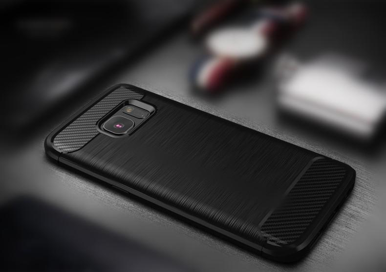 Samsung Galaxy S6 Edge TPU Thin Softgel Case w Carbon Brush Texture