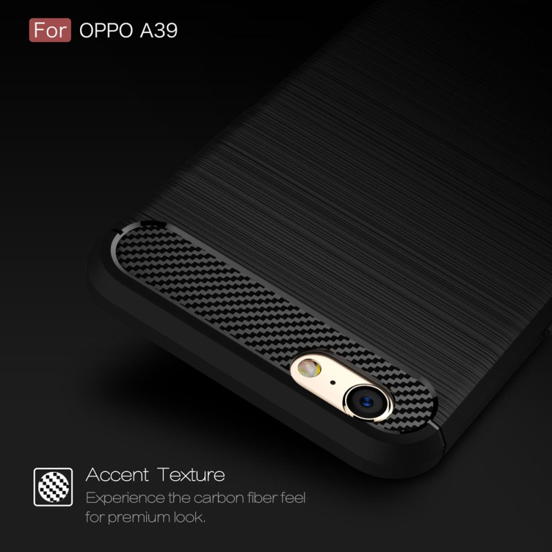 OPPO A39 TPU Thin Softgel Case w Carbon Brush Texture