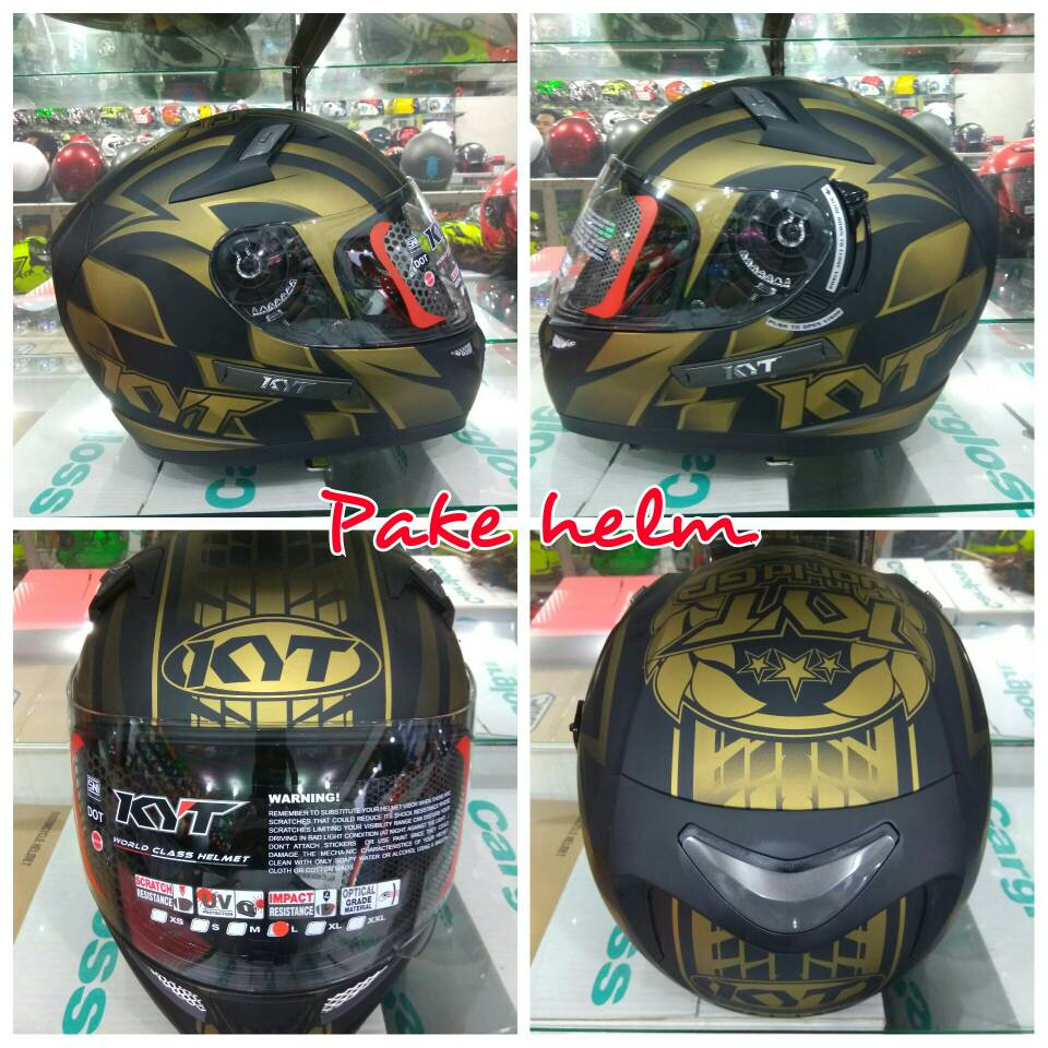 Jual HELM KYT FULL FACE K2 RIDER WGP BLACK GOLD DOFF