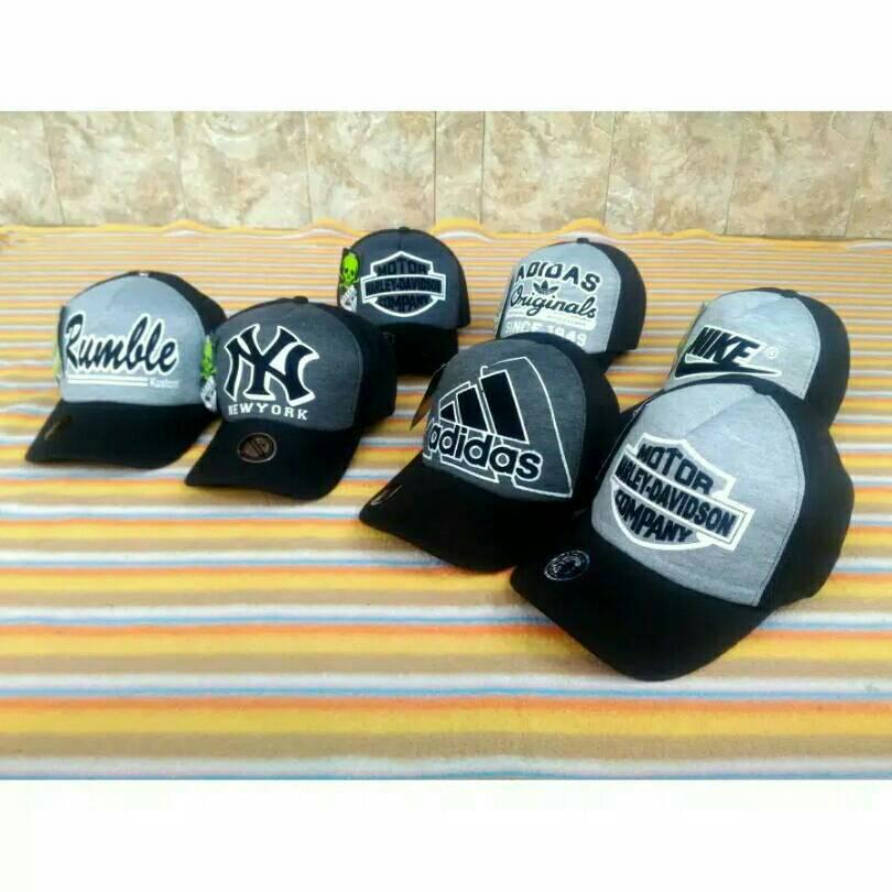 harga topi boxar hitam, abu, grey, adidas,nike, harley, rumble, new york, NY Tokopedia.com