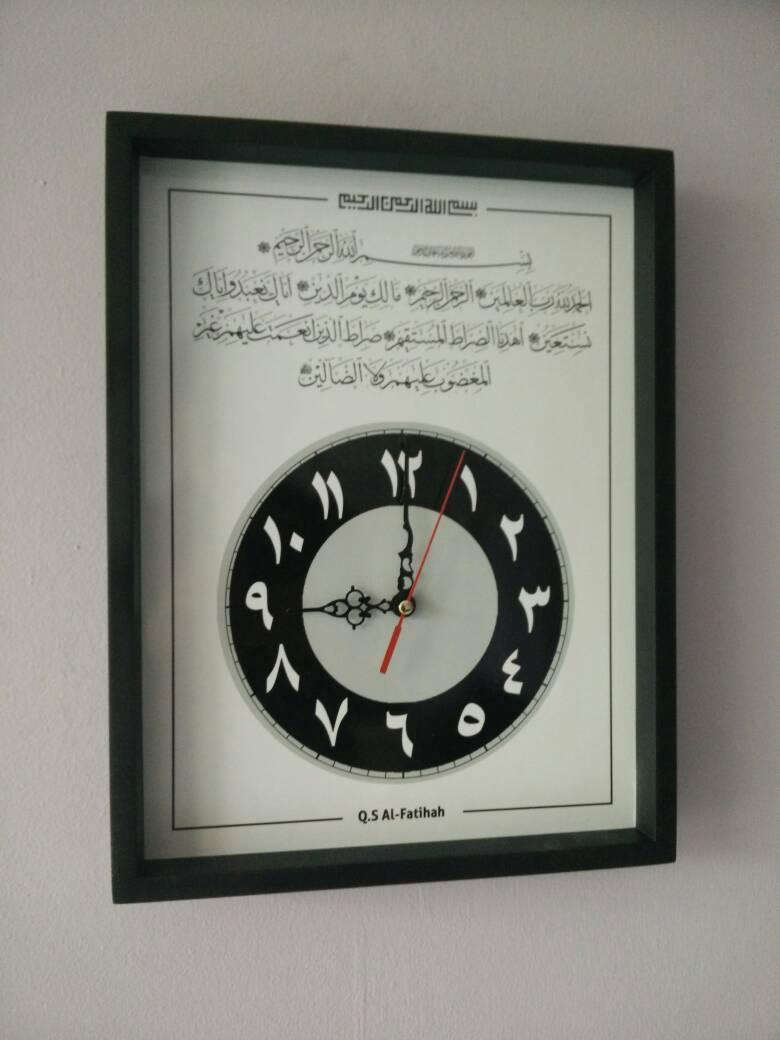 Jual Hiasan Jam Dinding Kaligrafi Surat Al-Fatihah Black White Uk ... 09273ff781