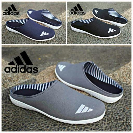 Jual Sepatu Adidas Slip On Casual Pria Slop Kerja Hitam Biru Abu (Bustong,S