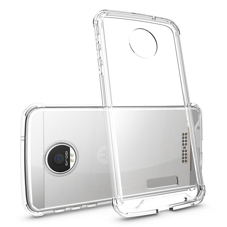 Motorola MOTO Z Clear Back  Panel TPU Cushion Hybrid Case