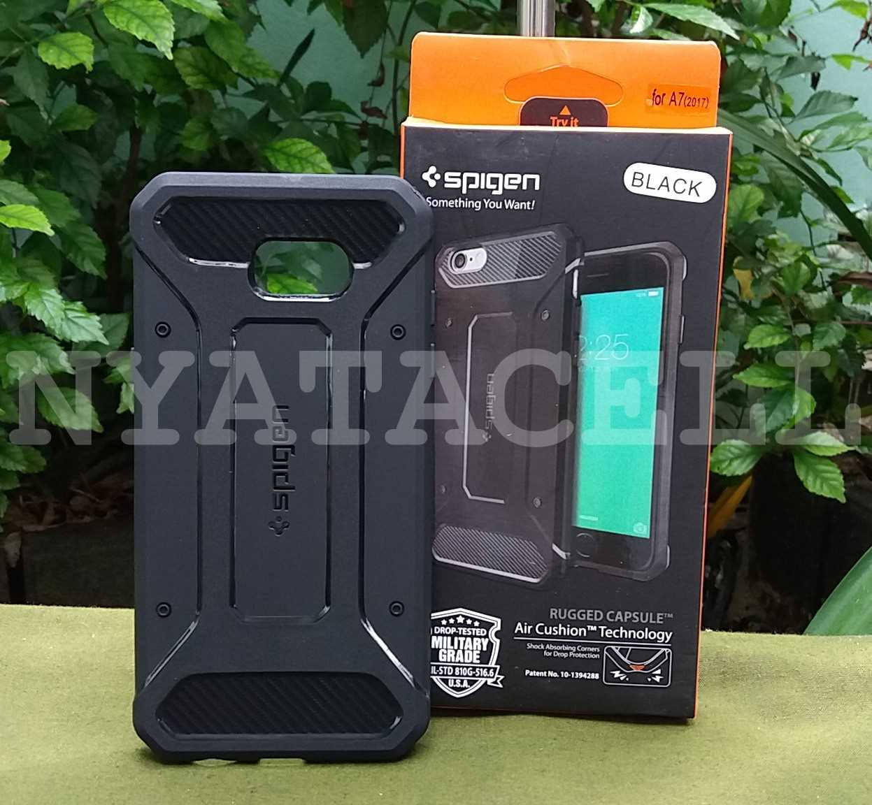 Jual Spigen Capsule Samsung A7 2017 A720 Soft/Case/Rugged Armor/Carbon - Hitam - nyatacell | Tokopedia