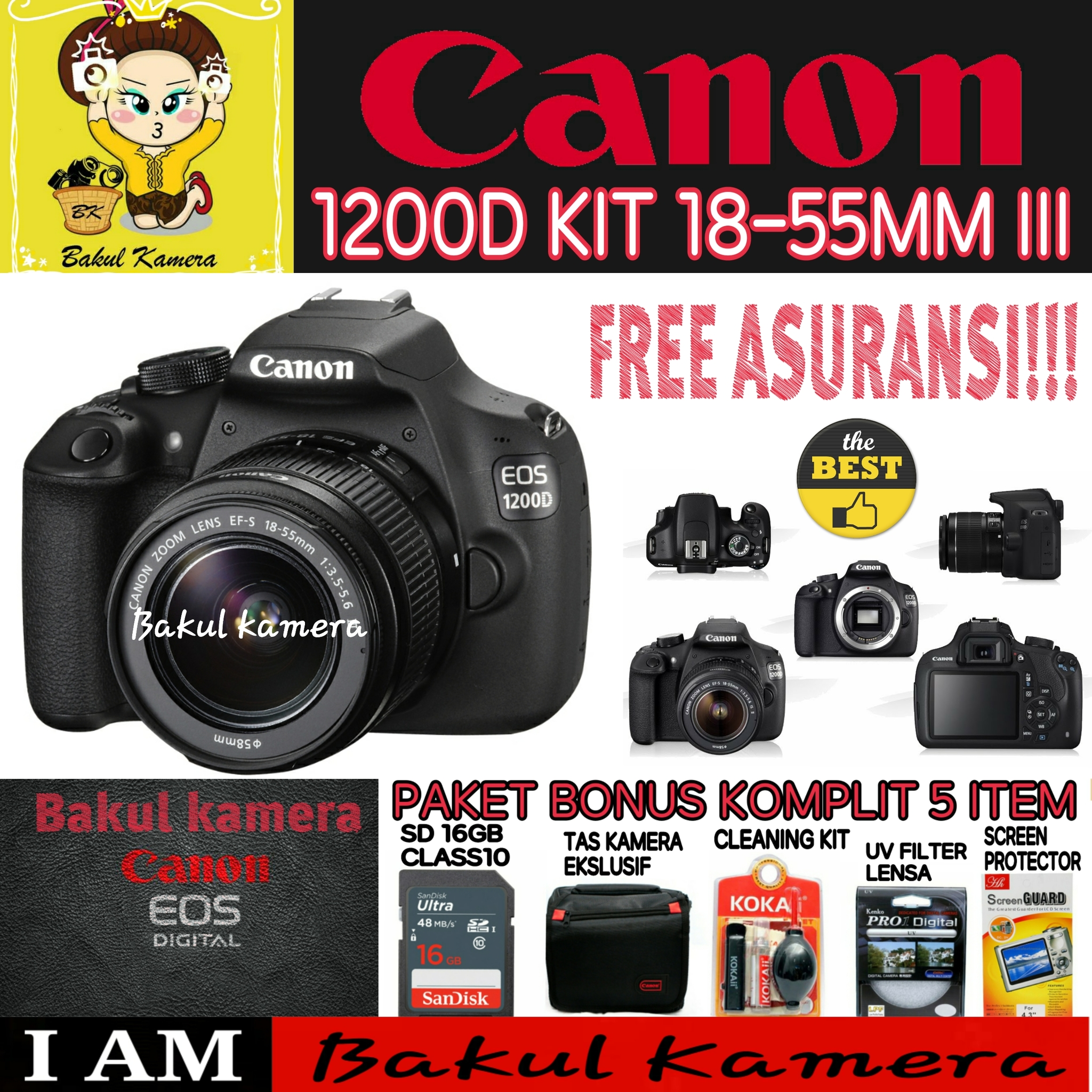 Jual Canon Eos 1200d Kit 18 55mm Iii Lensa Kamera Bakul Tokopedia
