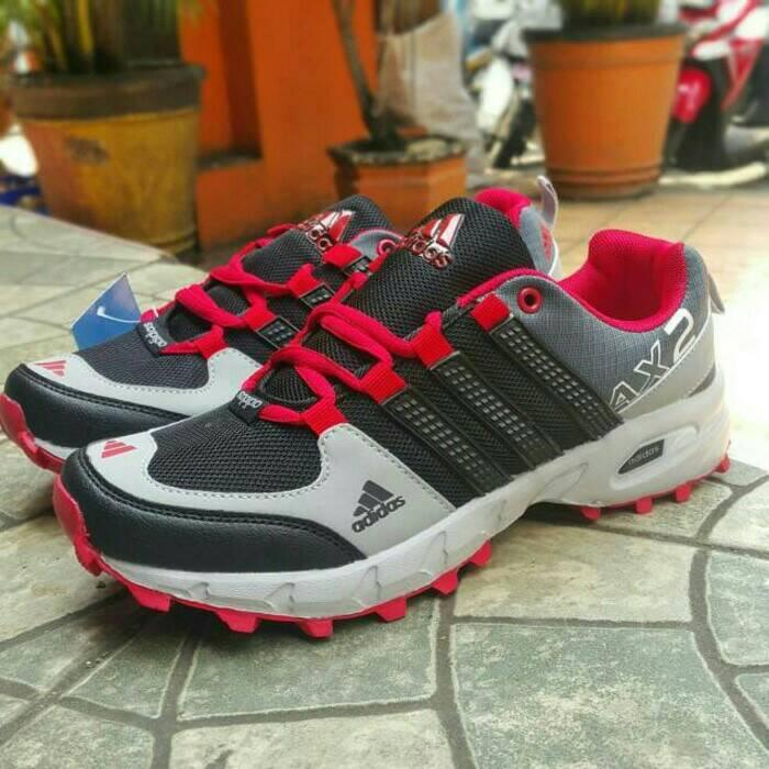 Jual sepatu running hiking adidas ax2 abu merah man cowok