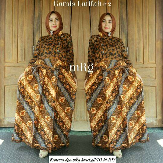 Jual Baju Batik Solo Batik Ayusari Gamis Batik Sogan