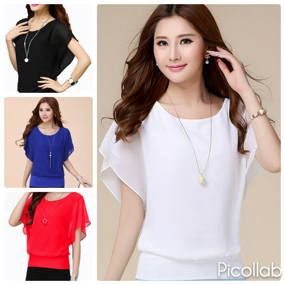Jual Atasan Baju Pakaian Blouse Model Korea Wanita Korean Style Blus Wing Dress Tokopedia