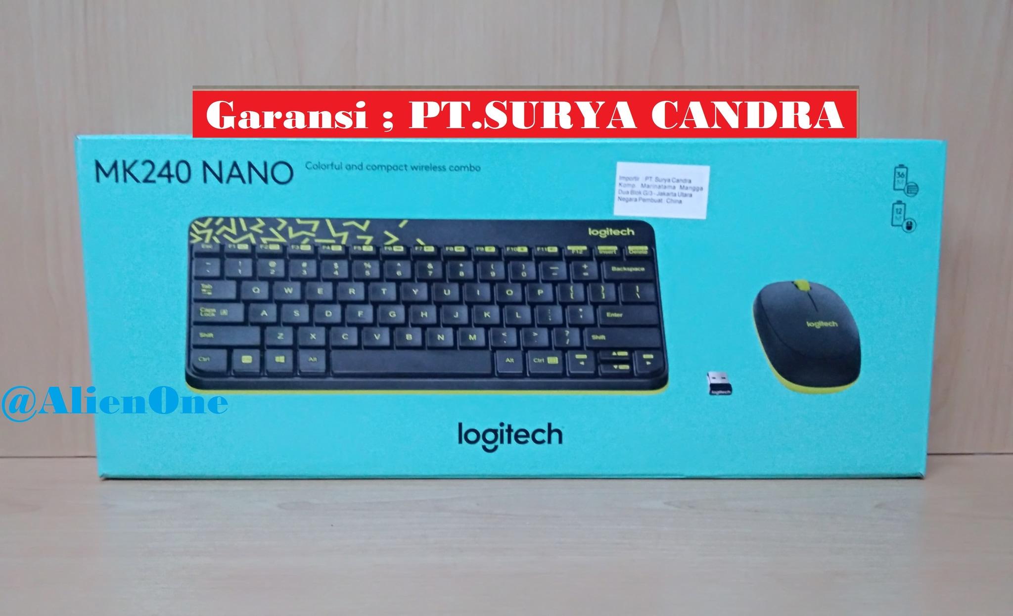 Jual Logitech Mk240 Wireless Combo Mouse Keyboard Nano Hitam Kuning Alienone Store Tokopedia
