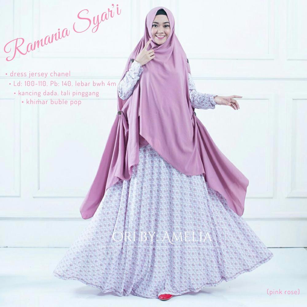 Jual Gamis Syari Jersey Modern Setelan Baju Muslim Bunga