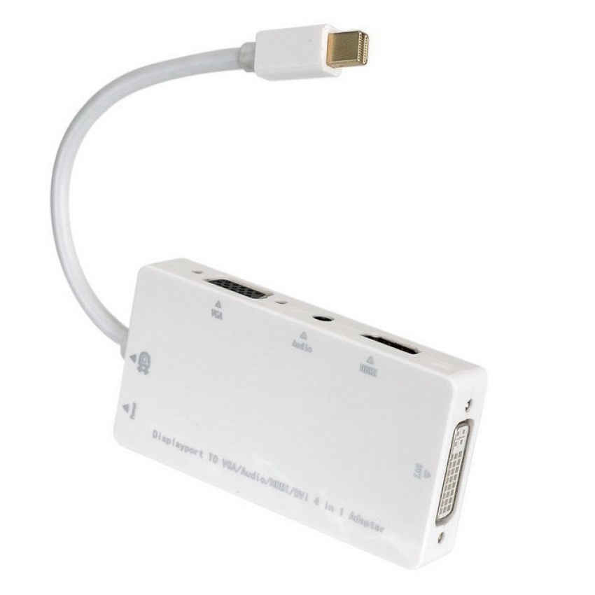 Converter Mini DP Thunderbolt 4 in 1 DVI VGA HDMI & Audio Adapter - Blanja.com