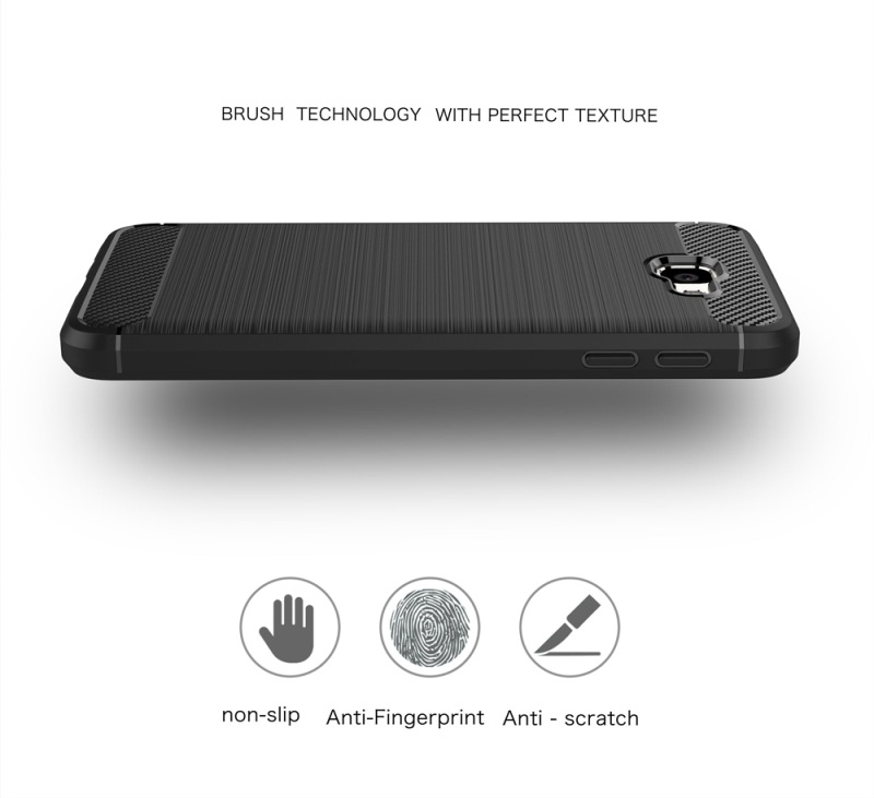 Samsung A7 2017 TPU Thin Softgel Case w Carbon Brush Texture