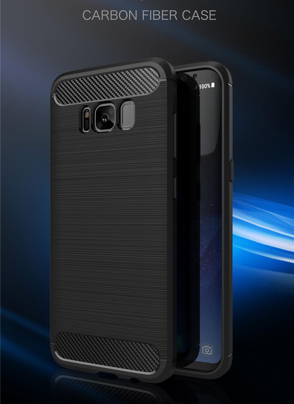 Samsung Galaxy S8 Plus TPU Thin Softgel Case w Carbon Brush Texture